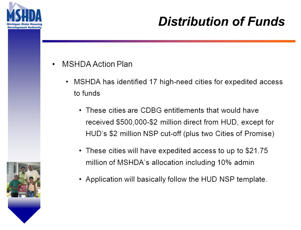 OV # - 4 Distribution of Funds MSHDA Action Plan MSHDA has identified 17 high-need cities for expedited access to funds These cities are CDBG entitlem