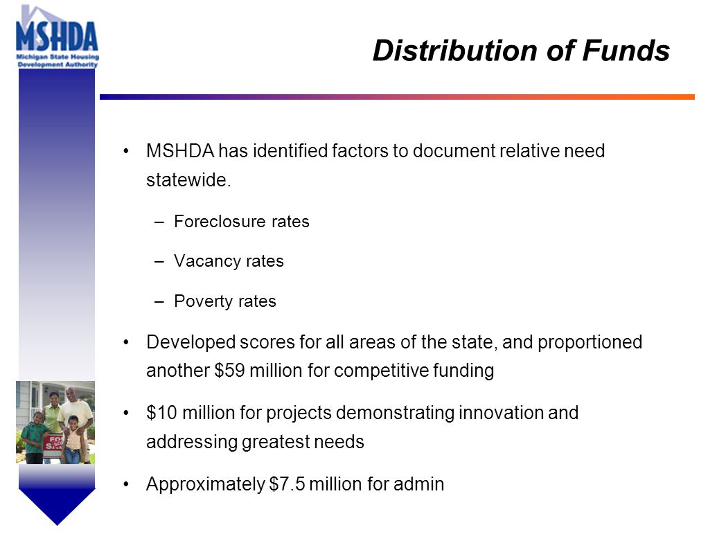 OV # - 5 Distribution of Funds MSHDA has identified factors to document relative need statewide.