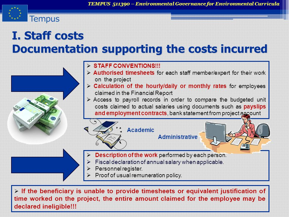 I. Staff costs Documentation supporting the costs incurred TEMPUS 511390 – Environmental Governance for Environmental Curricula  STAFF CONVENTIONS!!!