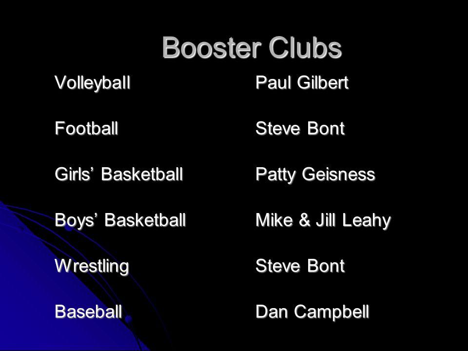 VolleyballPaul Gilbert FootballSteve Bont Girls' BasketballPatty Geisness Boys' BasketballMike & Jill Leahy WrestlingSteve Bont BaseballDan Campbell Booster Clubs