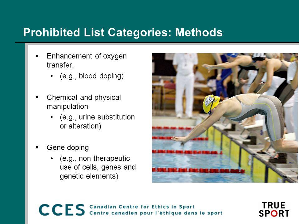 Prohibited List Categories: Methods  Enhancement of oxygen transfer.
