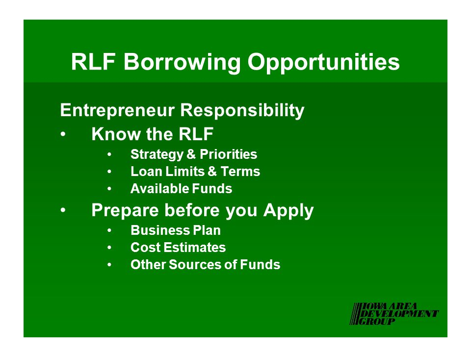 RLF Borrowing Opportunities Entrepreneur Responsibility Know the RLF Strategy & Priorities Loan Limits & Terms Available Funds Prepare before you Apply Business Plan Cost Estimates Other Sources of Funds