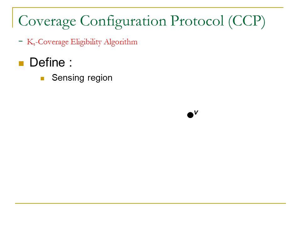 Coverage Configuration Protocol (CCP) - K s -Coverage Eligibility Algorithm Define : Sensing region v