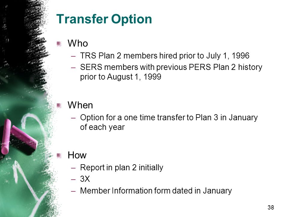 TRS and SERS Plan 3 Options Transfer New Member Plan Choice Membership Chosen 37