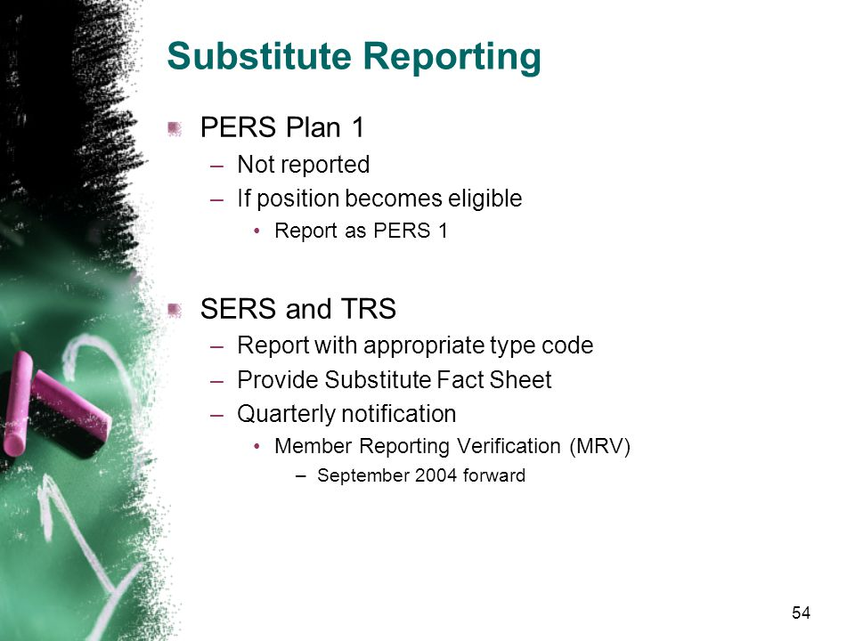 Substitute Reporting Report begin and end dates when a member's status changes –Substitute to eligible –Eligible to substitute Report member as either