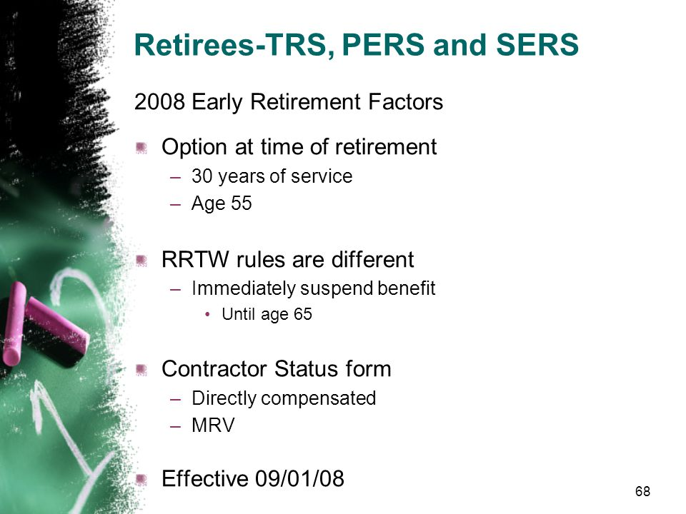 Retirees-TRS, PERS and SERS Plan 1 –1500 hours per year –1900 lifetime Plans 2 and 3 –867 hours per year 2008 Early Retirement Factors 67 Limits