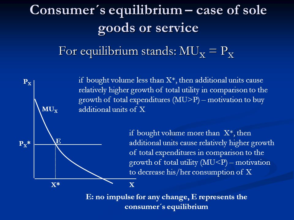 Consumer´s equilibrium Consumer is in equilibirium if he/she maximizes his/her total utility according to his/her preferences and possibilities (disposable income and goods prices)