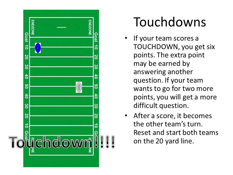 Touchdowns If your team scores a TOUCHDOWN, you get six points.