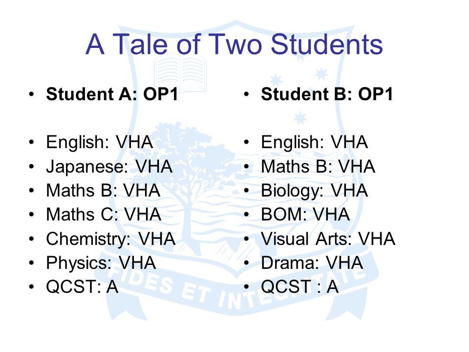 A Tale of Two Students Student A: OP1 English: VHA Japanese: VHA Maths B: VHA Maths C: VHA Chemistry: VHA Physics: VHA QCST: A Student B: OP1 English: