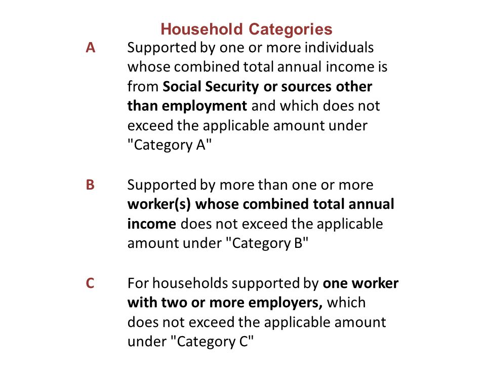 A Supported by one or more individuals whose combined total annual income is from Social Security or sources other than employment and which does not exceed the applicable amount under Category A B Supported by more than one or more worker(s) whose combined total annual income does not exceed the applicable amount under Category B C For households supported by one worker with two or more employers, which does not exceed the applicable amount under Category C Household Categories