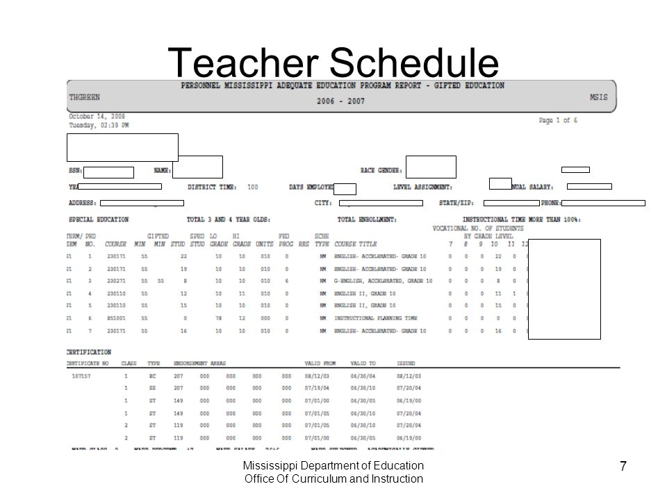 Mississippi Department of Education Office Of Curriculum and Instruction 7 Teacher Schedule