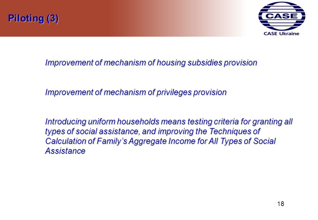 Piloting (3) Piloting (3) Improvement of mechanism of housing subsidies provision Improvement of mechanism of privileges provision Introducing uniform households means testing criteria for granting all types of social assistance, and improving the Techniques of Calculation of Family's Aggregate Income for All Types of Social Assistance 1818