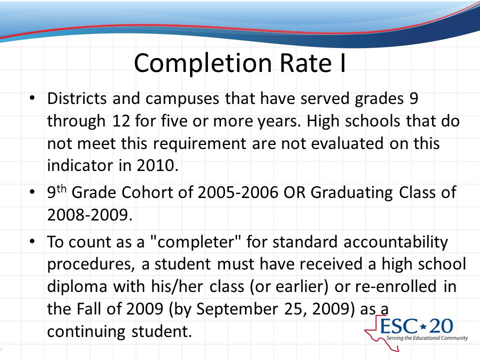 Completion Rate I Districts and campuses that have served grades 9 through 12 for five or more years.
