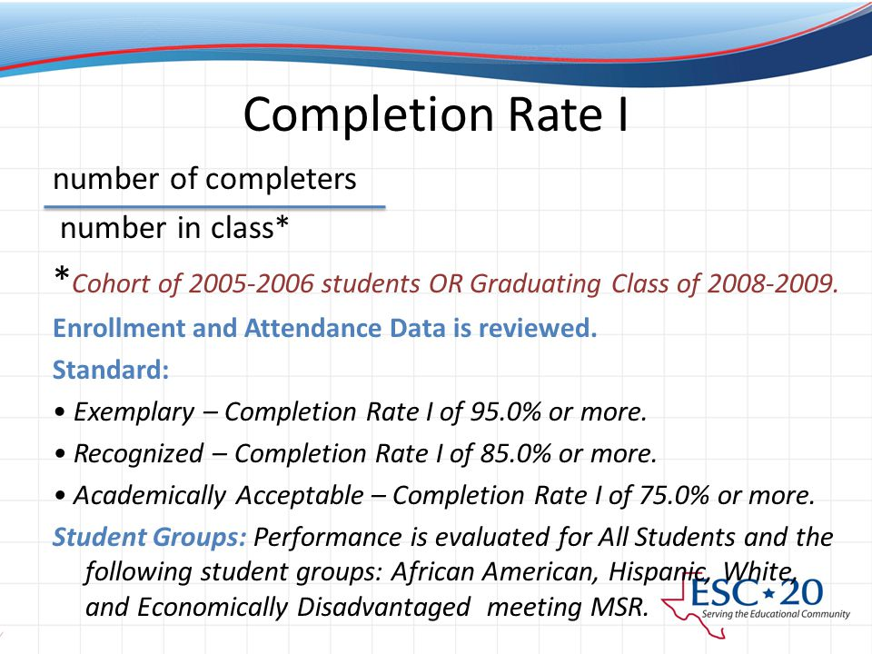 Completion Rate I number of completers number in class* * Cohort of 2005-2006 students OR Graduating Class of 2008-2009.