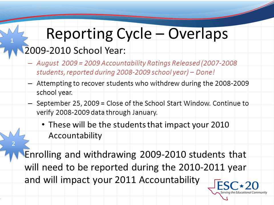 Reporting Cycle – Overlaps 2009-2010 School Year: – August 2009 = 2009 Accountability Ratings Released (2007-2008 students, reported during 2008-2009 school year) – Done.
