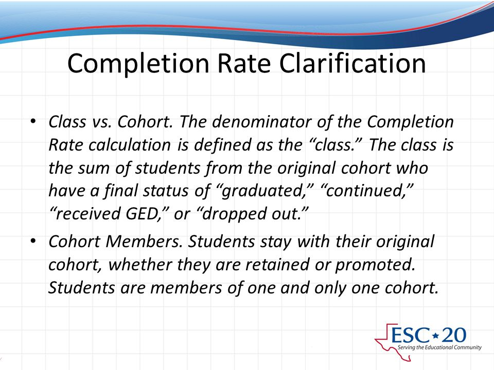 Completion Rate Clarification Class vs. Cohort.