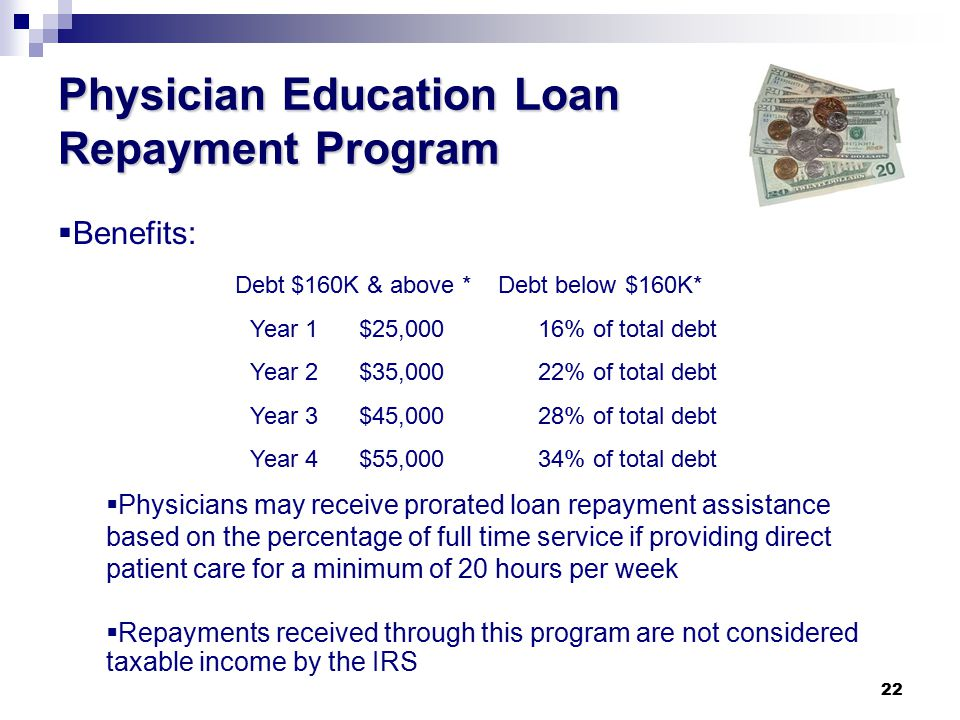 22 Physician Education Loan Repayment Program  Benefits: Debt $160K & above * Debt below $160K* Year 1 $25,00016% of total debt Year 2 $35,00022% of total debt Year 3 $45,00028% of total debt Year 4 $55,00034% of total debt  Physicians may receive prorated loan repayment assistance based on the percentage of full time service if providing direct patient care for a minimum of 20 hours per week  Repayments received through this program are not considered taxable income by the IRS