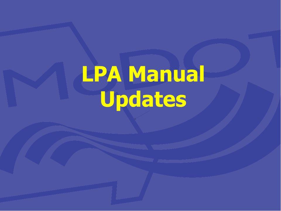 LPA Manual Updates