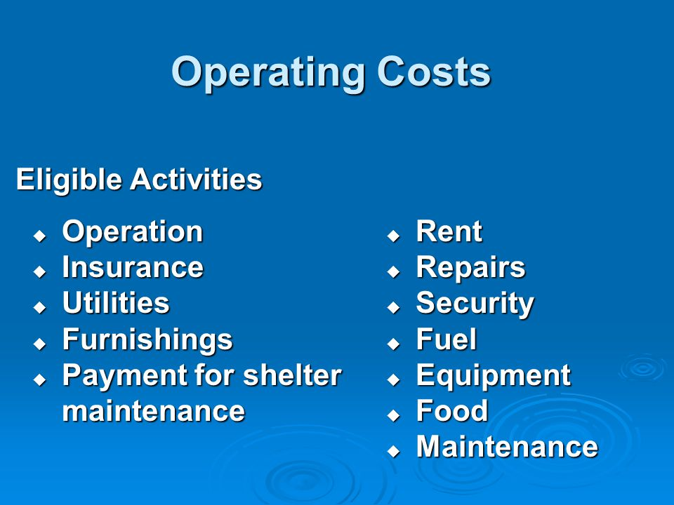 Operating Costs Eligible Activities Eligible Activities  Operation  Insurance  Utilities  Furnishings  Payment for shelter maintenance  Rent  Repairs  Security  Fuel  Equipment  Food  Maintenance