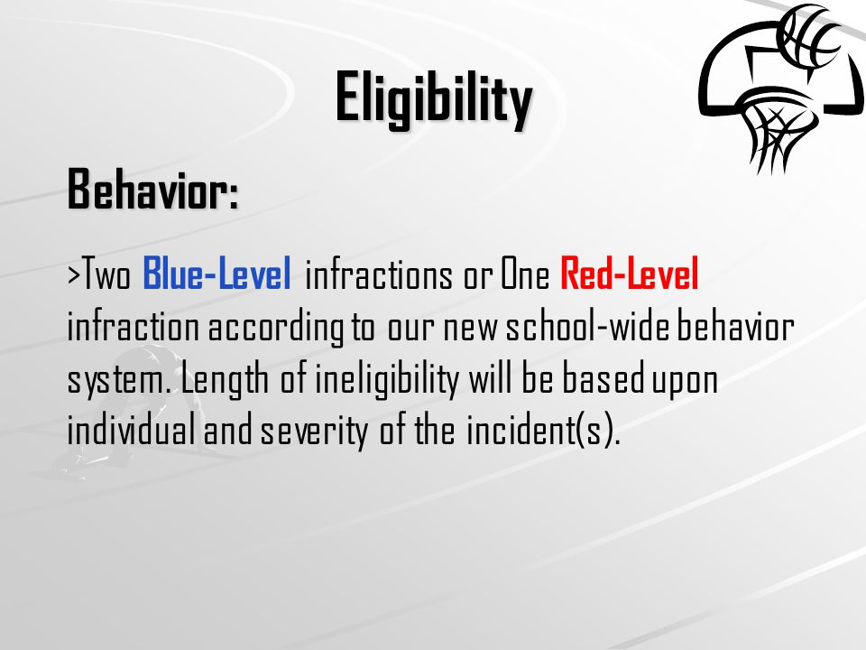 Eligibility Behavior: >Two Blue-Level infractions or One Red-Level infraction according to our new school-wide behavior system.