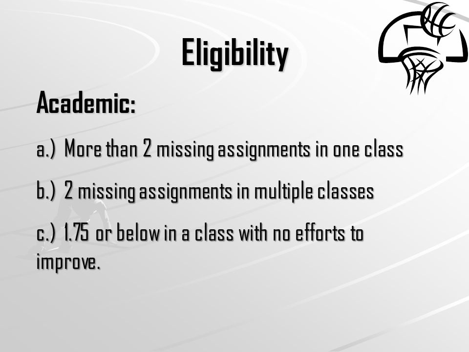 Eligibility (cont.) Attendance: Must be present at school that day to practice/play.