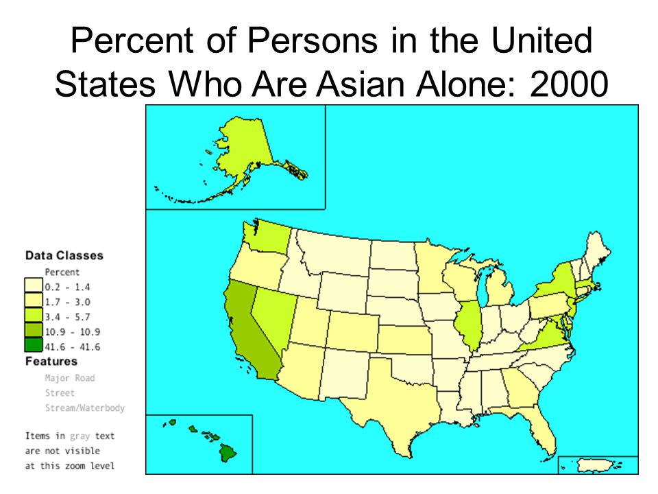 Percent of Persons in the United States Who Are Asian Alone: 2000