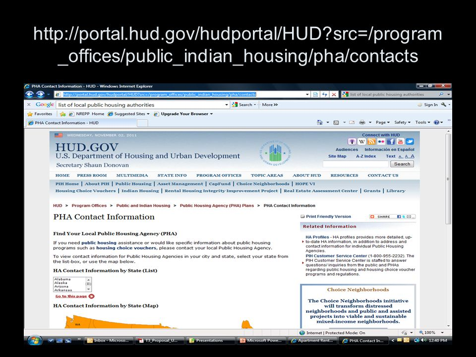 28 http://portal.hud.gov/hudportal/HUD src=/program _offices/public_indian_housing/pha/contacts