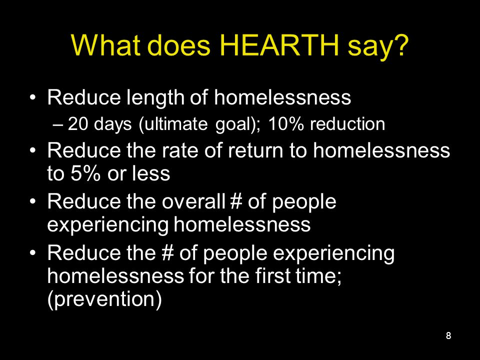 8 What does HEARTH say.