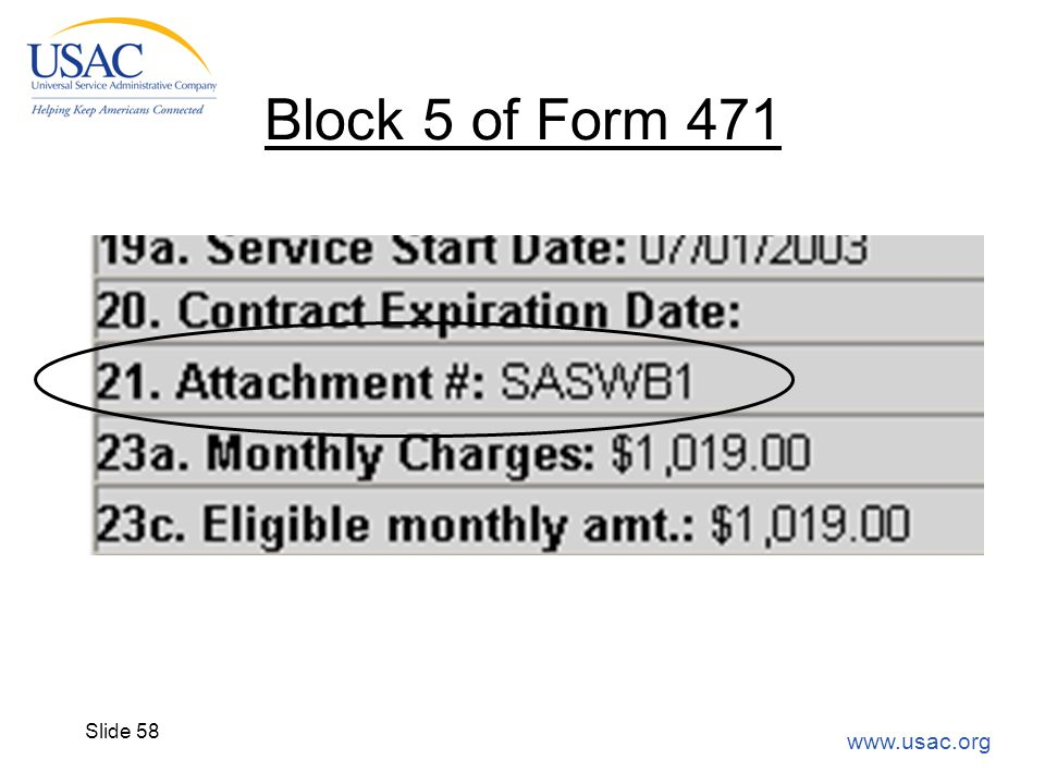 www.usac.org Slide 58 Block 5 of Form 471