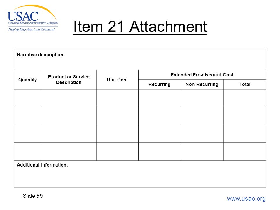 www.usac.org Slide 59 Item 21 Attachment Narrative description: Quantity Product or Service Description Unit Cost Extended Pre-discount Cost Recurring