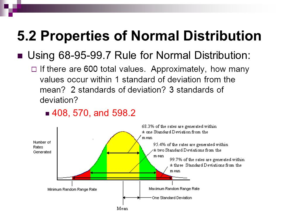 5.2 Properties of Normal Distribution Using 68-95-99.7 Rule for Normal Distribution:  If there are 600 total values.