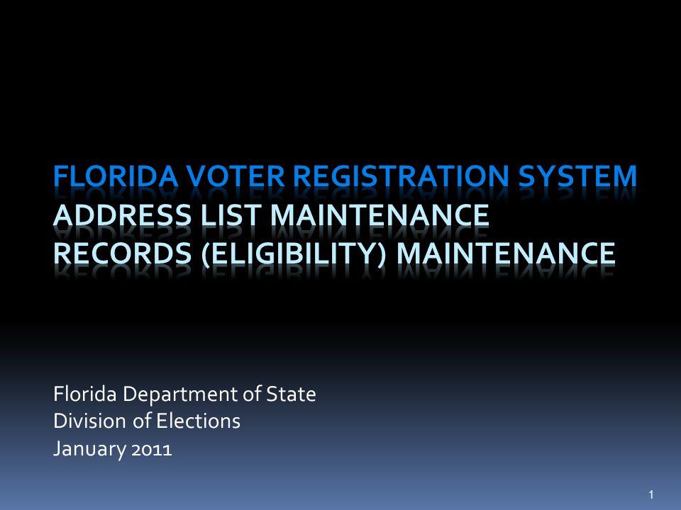 Governing Law National Voter Registration Act of 1993 (NVRA) (42 U.S.C.
