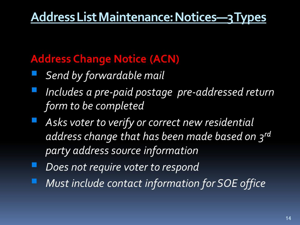Address List Maintenance: Notices—3 Types Address Change Notice (ACN)  Send by forwardable mail  Includes a pre-paid postage pre-addressed return fo