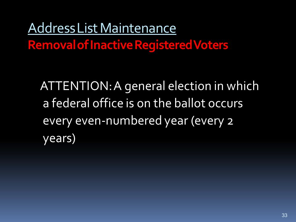Address List Maintenance Removal of Inactive Registered Voters ATTENTION: A general election in which a federal office is on the ballot occurs every e