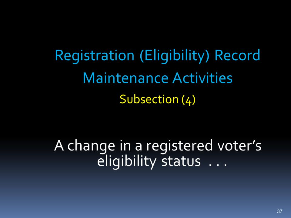 Registration (Eligibility) Record Maintenance Activities Subsection (4) A change in a registered voter's eligibility status... 37