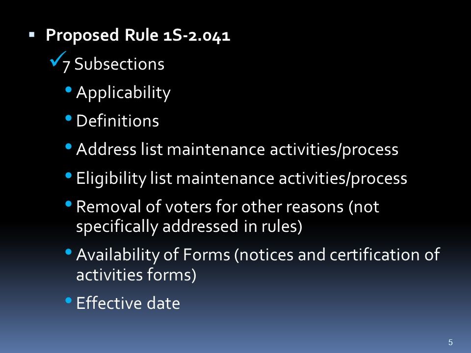  Proposed Rule 1S-2.041 7 Subsections Applicability Definitions Address list maintenance activities/process Eligibility list maintenance activities/p