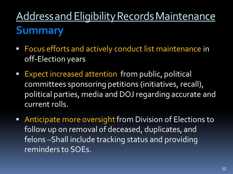 Address and Eligibility Records Maintenance Summary  Focus efforts and actively conduct list maintenance in off-Election years  Expect increased att