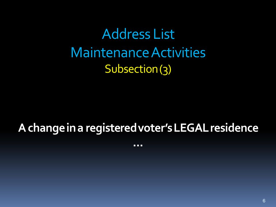 Address List Maintenance  Programmatic: Incorporate at least 1 of 3 general address maintenance activities program to be conducted at least every odd- numbered (note: non-general (federal) election year)  Ongoing: Continuous address change feedback from other third-party address sources and from the voter.