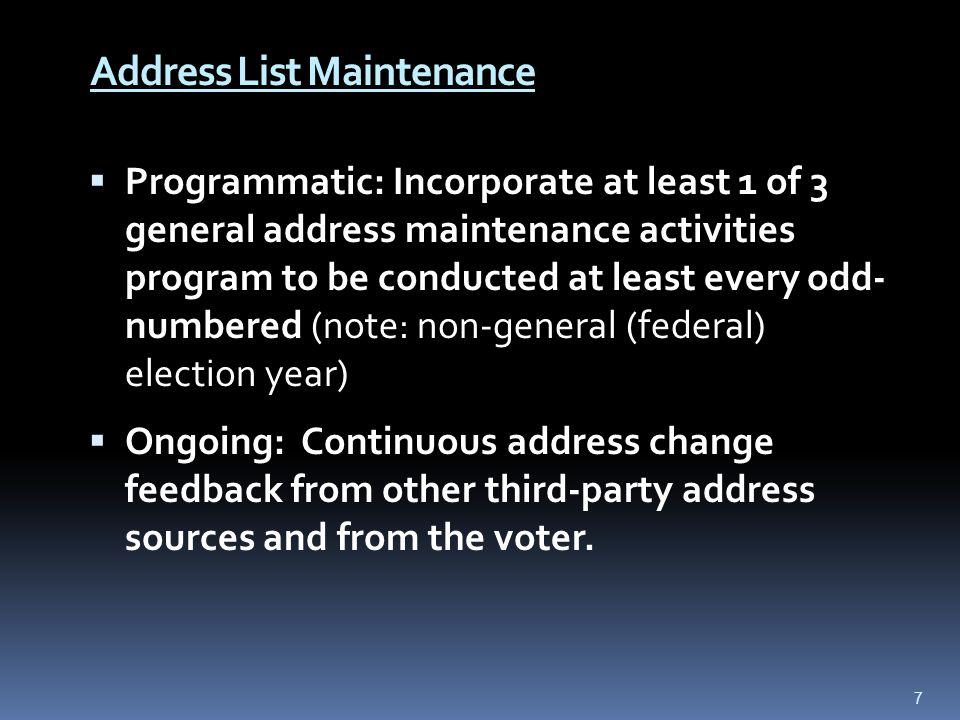 Address List Maintenance Restore Inactive Voter to Active Status (s.