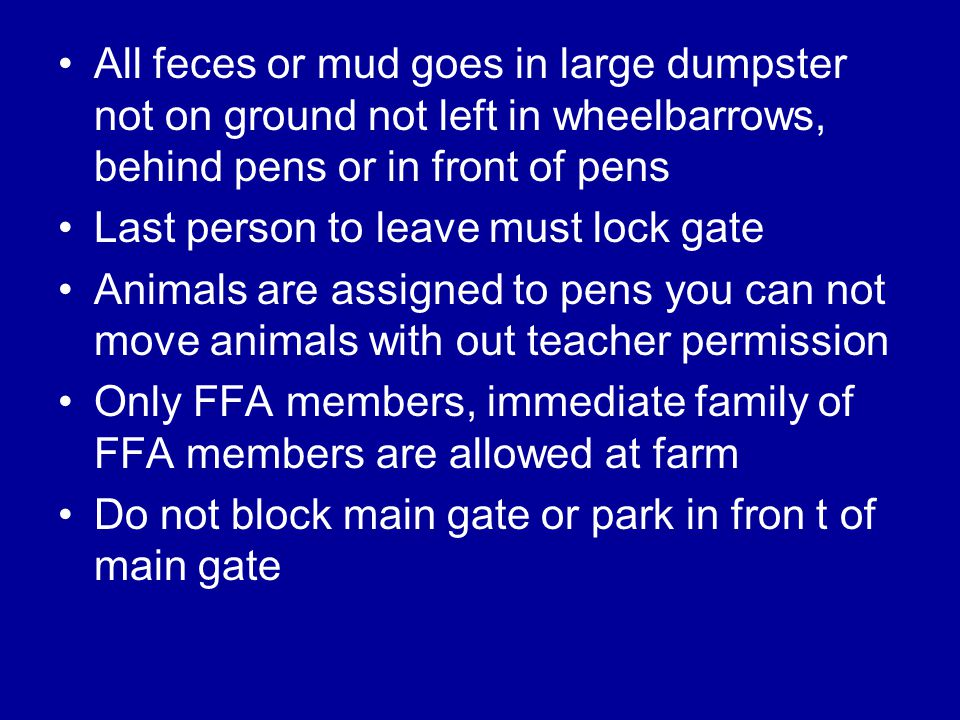 All feces or mud goes in large dumpster not on ground not left in wheelbarrows, behind pens or in front of pens Last person to leave must lock gate Animals are assigned to pens you can not move animals with out teacher permission Only FFA members, immediate family of FFA members are allowed at farm Do not block main gate or park in fron t of main gate