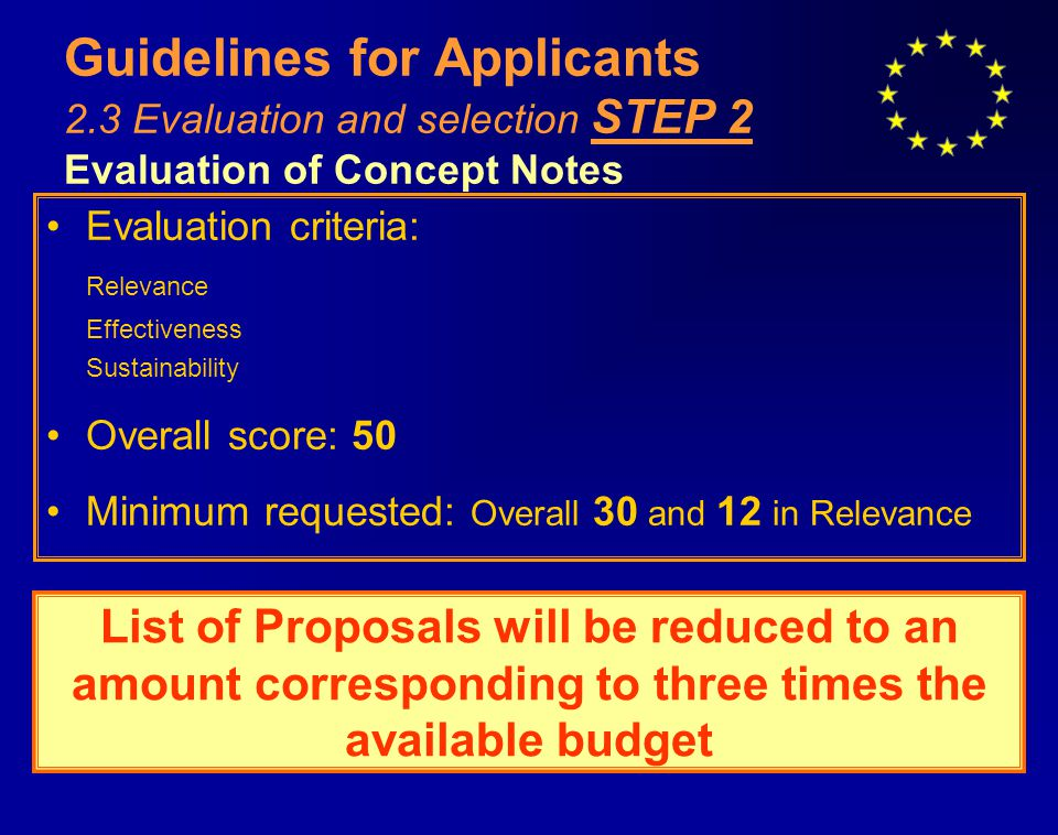 Guidelines for Applicants 2.3 Evaluation and selection STEP 2 Evaluation of Concept Notes Evaluation criteria: Relevance Effectiveness Sustainability Overall score: 50 Minimum requested: Overall 30 and 12 in Relevance List of Proposals will be reduced to an amount corresponding to three times the available budget