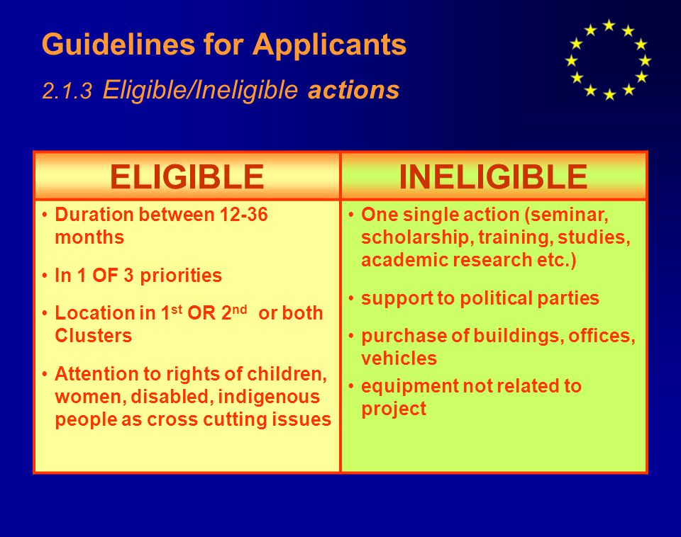 Guidelines for Applicants 2.1.3 Eligible/Ineligible actions ELIGIBLEINELIGIBLE Duration between 12-36 months In 1 OF 3 priorities Location in 1 st OR 2 nd or both Clusters Attention to rights of children, women, disabled, indigenous people as cross cutting issues One single action (seminar, scholarship, training, studies, academic research etc.) support to political parties purchase of buildings, offices, vehicles equipment not related to project