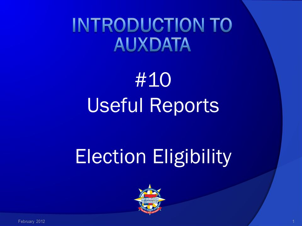 2 In order to view AUXDATA reports, you must have a pdf reader program installed on your computer.