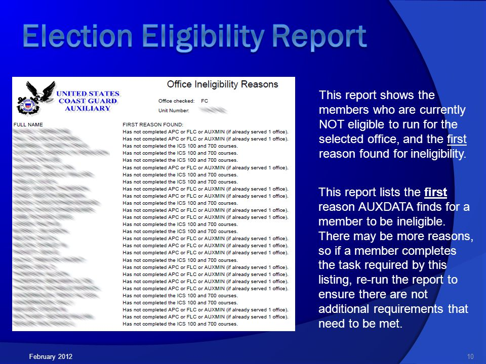 February 201210 This report shows the members who are currently NOT eligible to run for the selected office, and the first reason found for ineligibility.