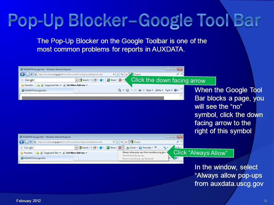 Click Always Allow The Pop-Up Blocker on the Google Toolbar is one of the most common problems for reports in AUXDATA.