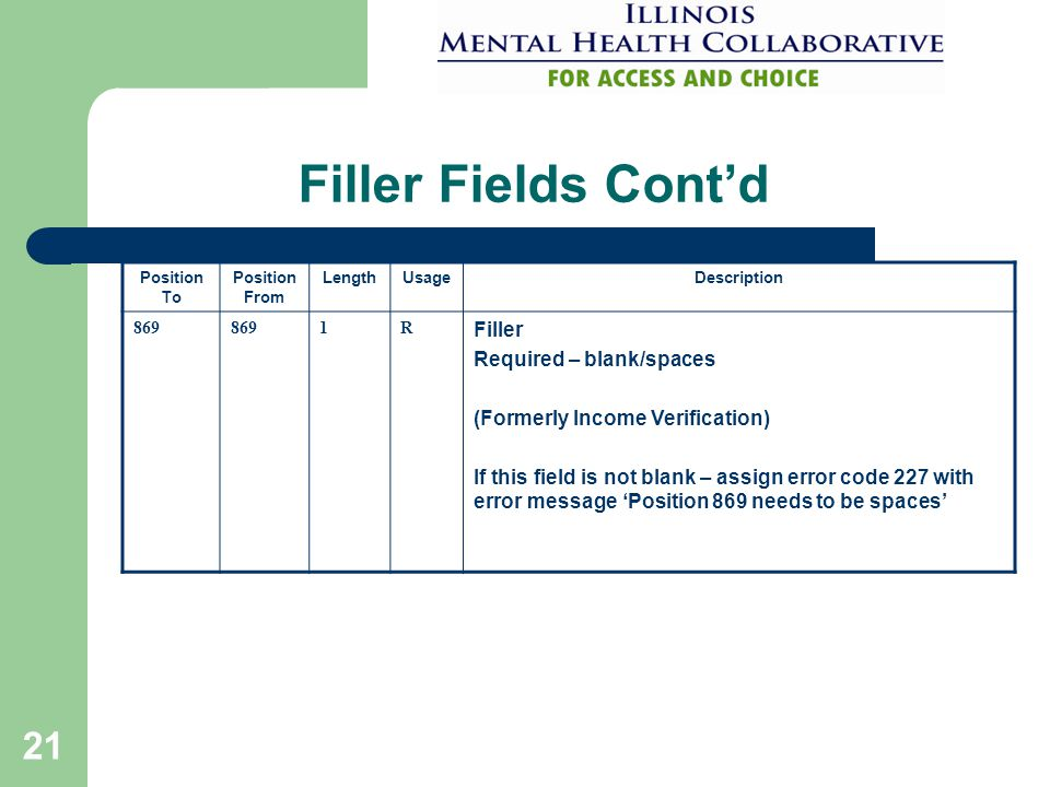 21 Filler Fields Cont'd Position To Position From LengthUsageDescription 869 1R Filler Required – blank/spaces (Formerly Income Verification) If this