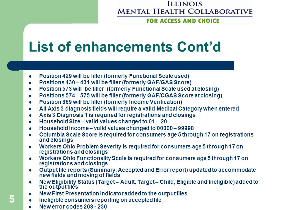 List of enhancements Cont'd Position 429 will be filler (formerly Functional Scale used) Positions 430 – 431 will be filler (formerly GAF/GAS Score) Position 573 will be filler (formerly Functional Scale used at closing) Positions 574 – 575 will be filler (formerly GAF/CGAS Score at closing) Position 869 will be filler (formerly Income Verification) All Axis 3 diagnosis fields will require a valid Medical Category when entered Axis 3 Diagnosis 1 is required for registrations and closings Household Size – valid values changed to 01 – 20 Household Income – valid values changed to 00000 – 99998 Columbia Scale Score is required for consumers age 5 through 17 on registrations and closings Workers Ohio Problem Severity is required for consumers age 5 through 17 on registrations and closings Workers Ohio Functionality Scale is required for consumers age 5 through 17 on registrations and closings Output file reports (Summary, Accepted and Error report) updated to accommodate new fields and moving of fields New Eligibility Status (Target – Adult, Target – Child, Eligible and Ineligible) added to the output files New First Presentation Indicator added to the output files Ineligible consumers reporting on accepted file New error codes 208 - 230 5