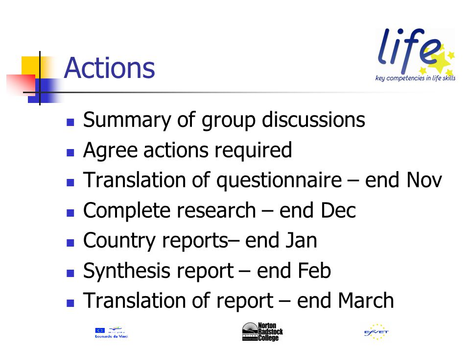 Actions Summary of group discussions Agree actions required Translation of questionnaire – end Nov Complete research – end Dec Country reports– end Jan Synthesis report – end Feb Translation of report – end March
