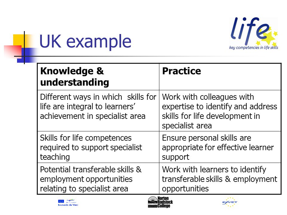 Knowledge & understanding Practice Different ways in which skills for life are integral to learners' achievement in specialist area Work with colleagues with expertise to identify and address skills for life development in specialist area Skills for life competences required to support specialist teaching Ensure personal skills are appropriate for effective learner support Potential transferable skills & employment opportunities relating to specialist area Work with learners to identify transferable skills & employment opportunities