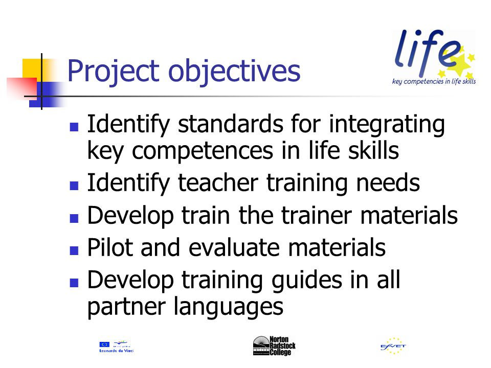 Project objectives Produce examples of best practice Disseminate Investigate potential for including in national teacher training programmes